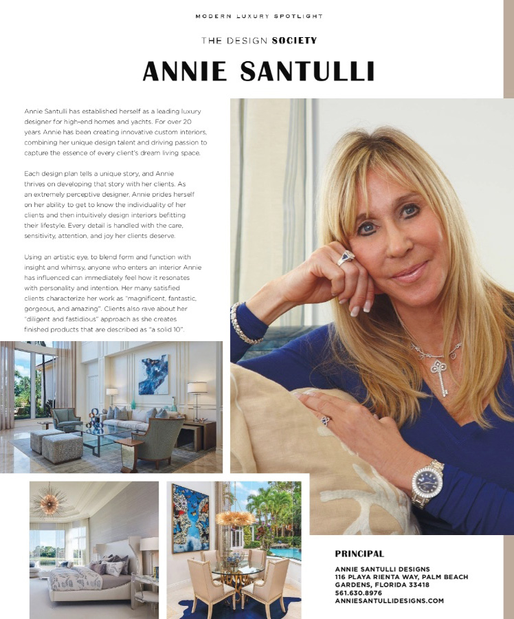 Modern luxury Palm Beach profiles Annie Santulli