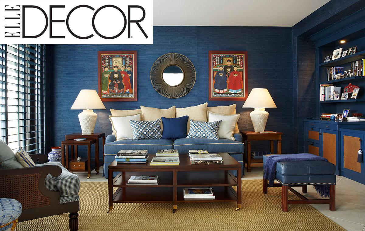 Elle Decor Interior Designers elle decor features the palm beach apartment blue den